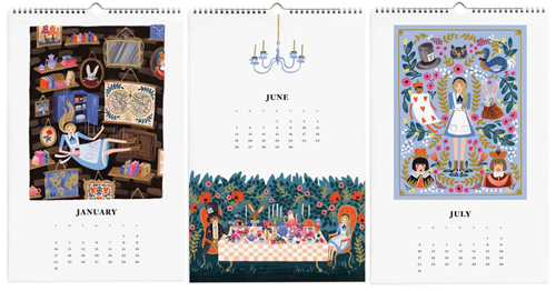 Rifle Paper Co. Alice in Wonderland Calendar - Inside View